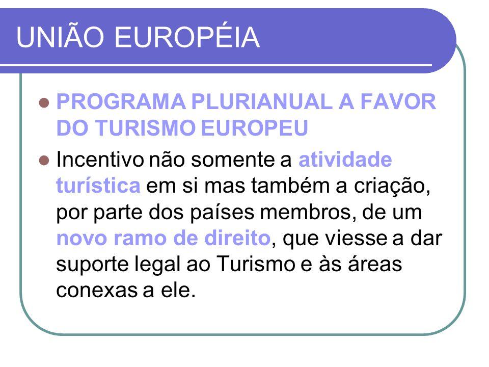 UNIÃO EUROPÉIA PROGRAMA PLURIANUAL A FAVOR DO TURISMO EUROPEU