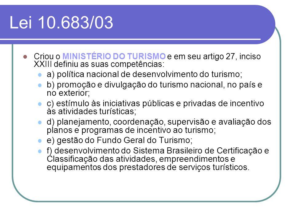 Lei 10.683/03 a) política nacional de desenvolvimento do turismo;