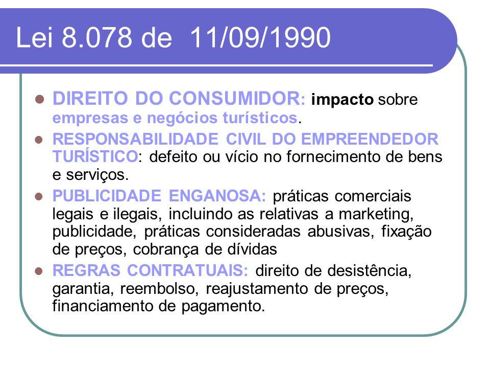 Lei 8.078 de 11/09/1990 DIREITO DO CONSUMIDOR: impacto sobre empresas e negócios turísticos.