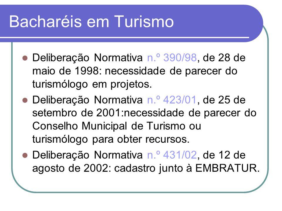 Bacharéis em Turismo Deliberação Normativa n.º 390/98, de 28 de maio de 1998: necessidade de parecer do turismólogo em projetos.