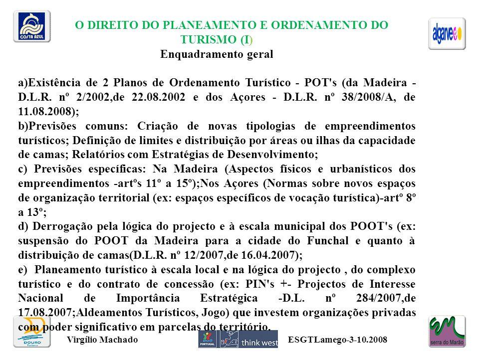 O DIREITO DO PLANEAMENTO E ORDENAMENTO DO TURISMO (I)