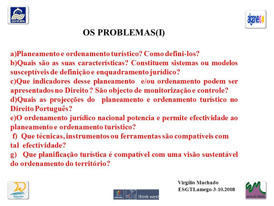 OS PROBLEMAS(I) Planeamento e ordenamento turístico Como defini-los