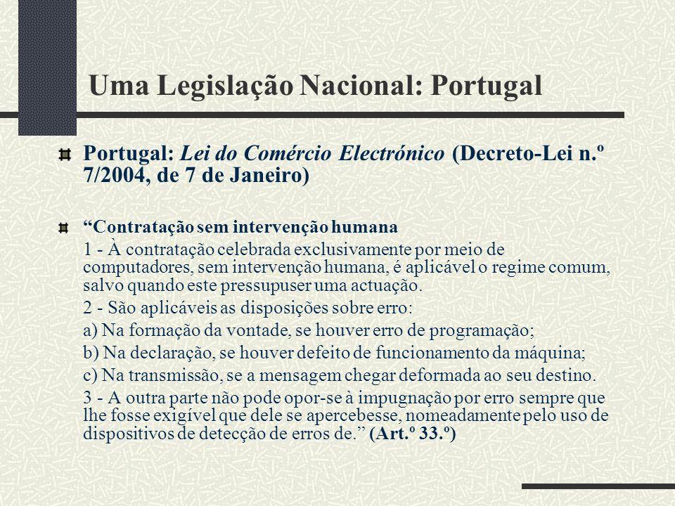 Uma Legislação Nacional: Portugal
