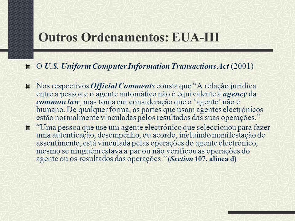 Outros Ordenamentos: EUA-III