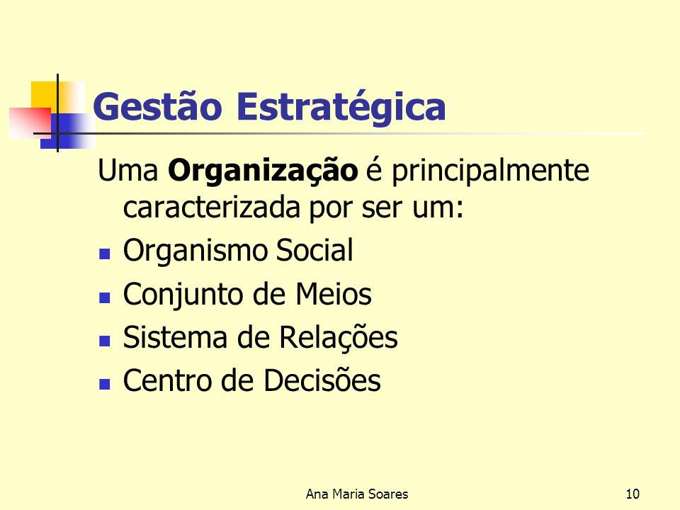 Gestão Estratégica Uma Organização é principalmente caracterizada por ser um: Organismo Social. Conjunto de Meios.