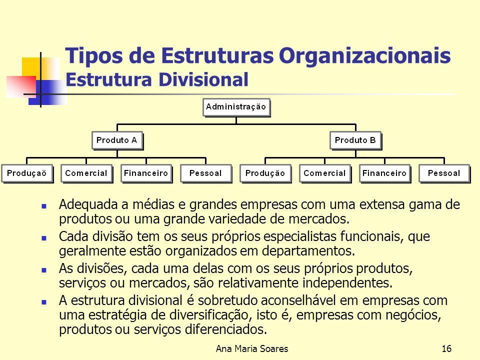 Tipos de Estruturas Organizacionais Estrutura Divisional