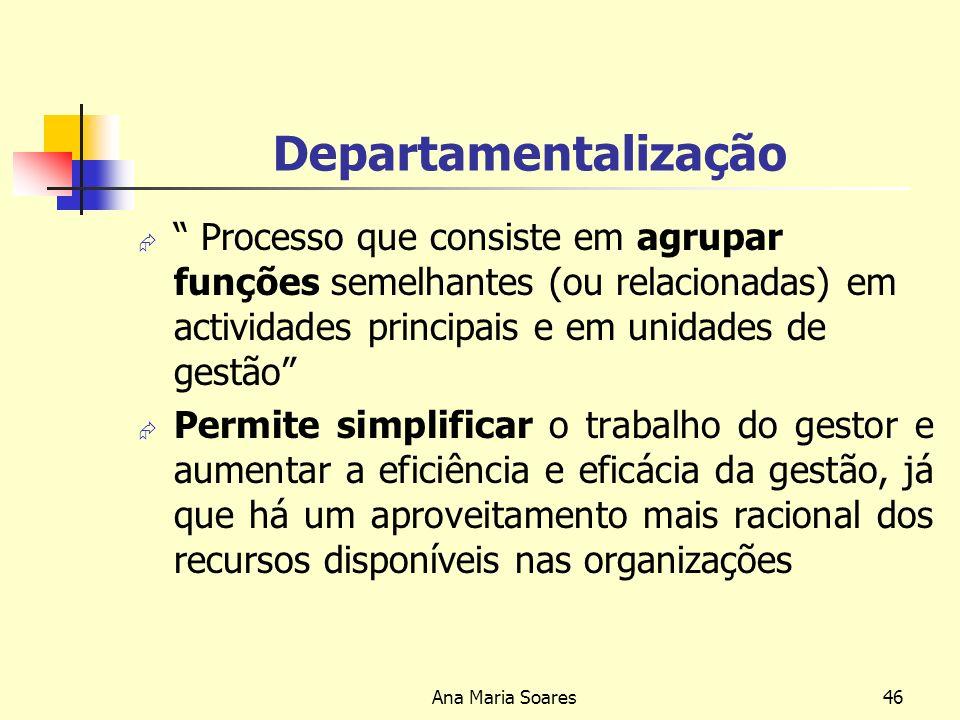 Departamentalização Processo que consiste em agrupar funções semelhantes (ou relacionadas) em actividades principais e em unidades de gestão