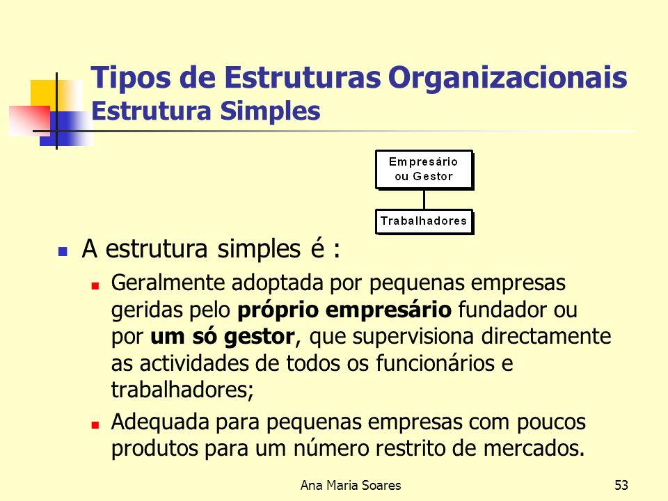 Tipos de Estruturas Organizacionais Estrutura Simples