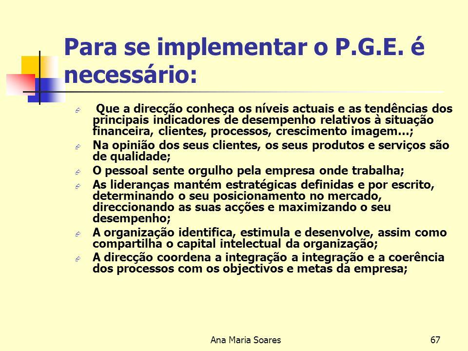 Para se implementar o P.G.E. é necessário: