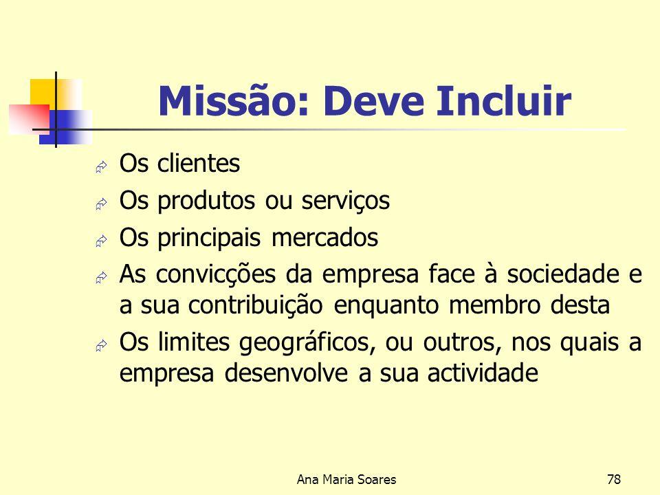 Missão: Deve Incluir Os clientes Os produtos ou serviços