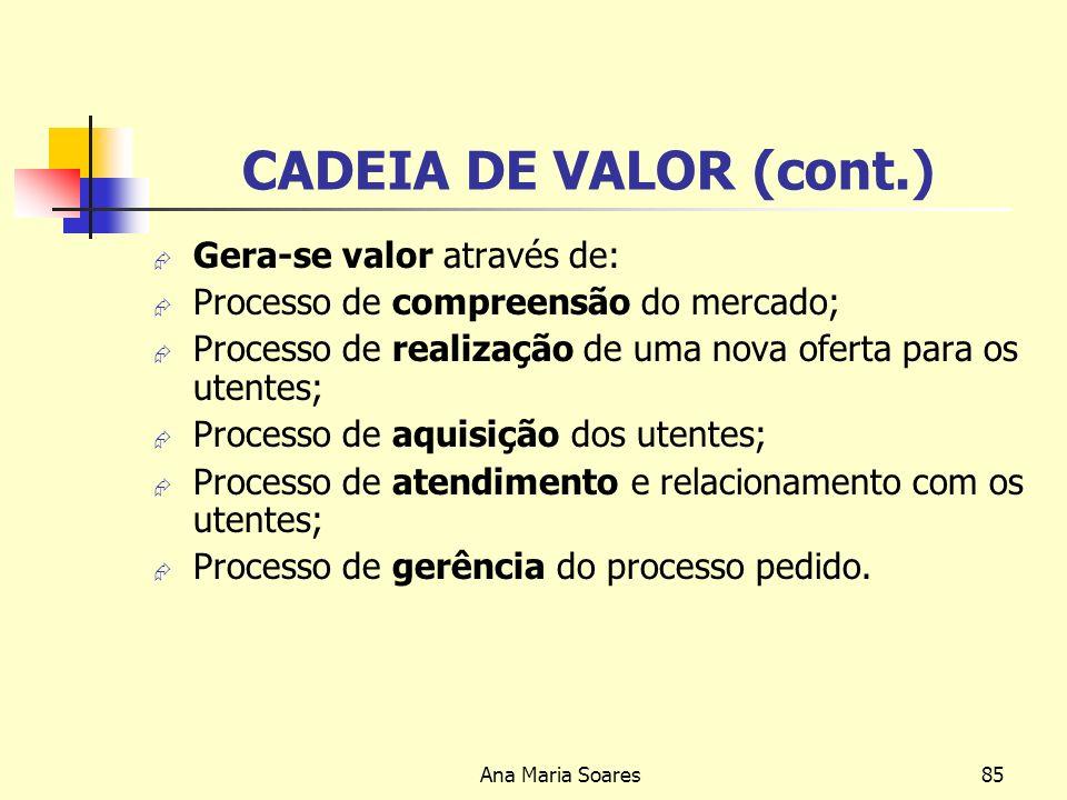 CADEIA DE VALOR (cont.) Gera-se valor através de: