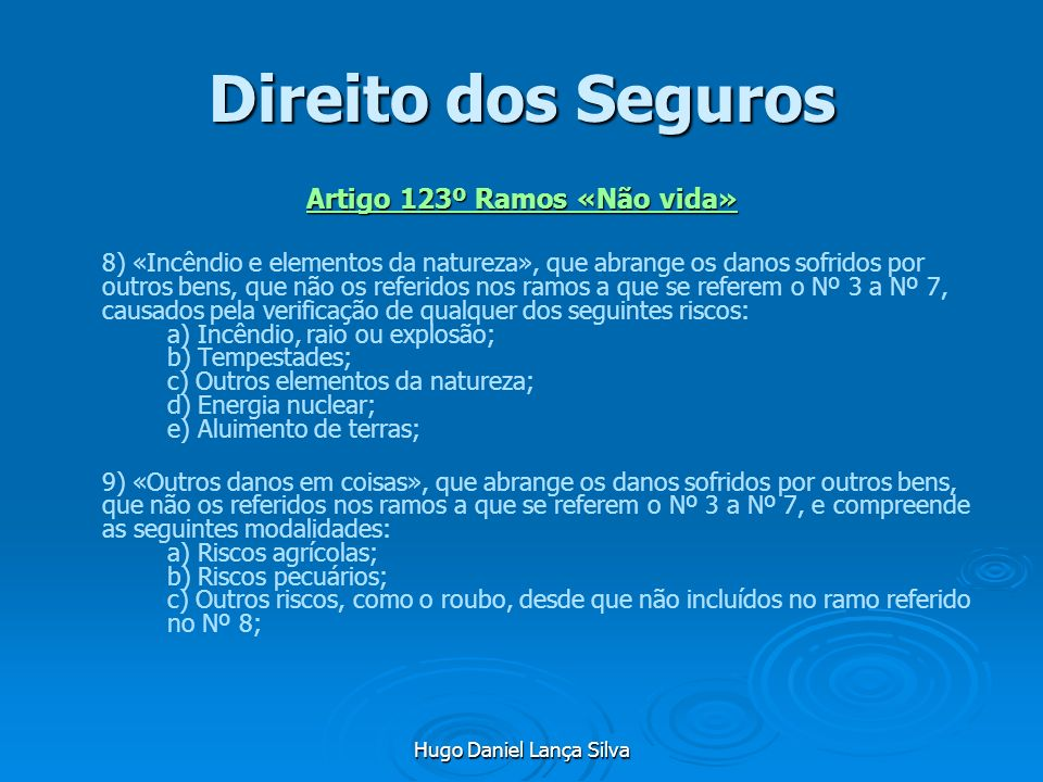 Artigo 123º Ramos «Não vida»
