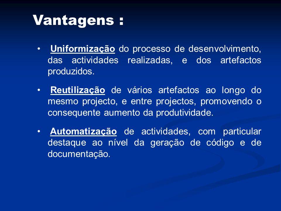Vantagens : Uniformização do processo de desenvolvimento, das actividades realizadas, e dos artefactos produzidos.