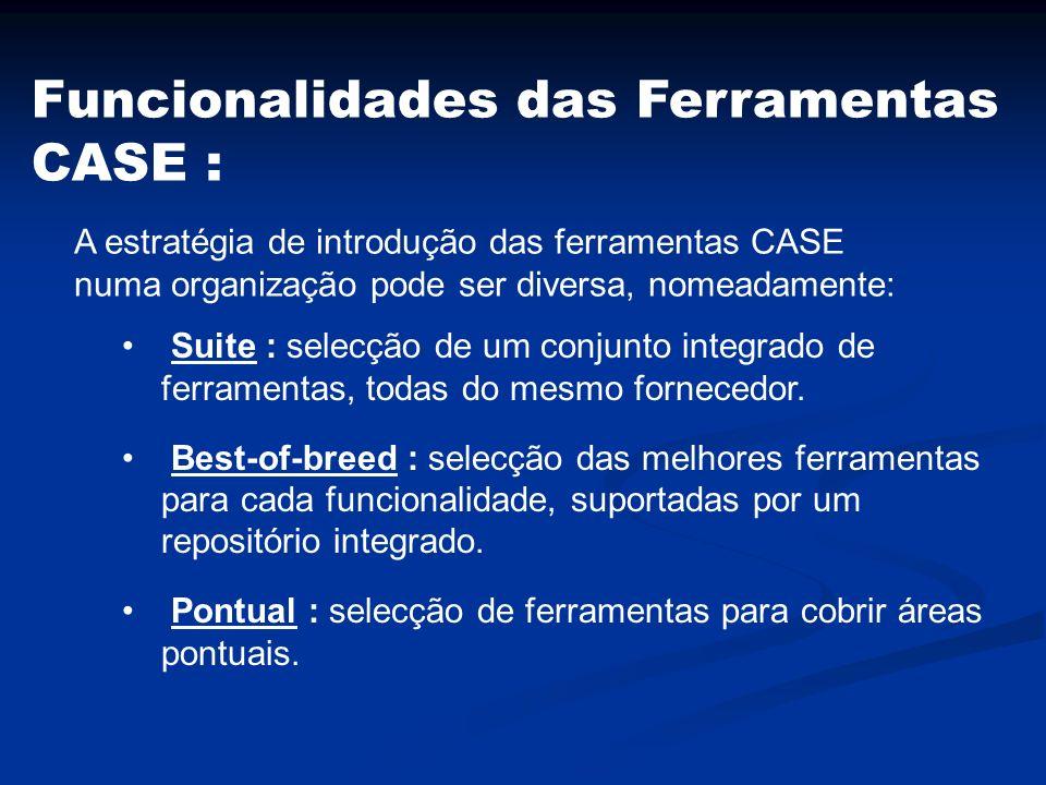 Funcionalidades das Ferramentas CASE :