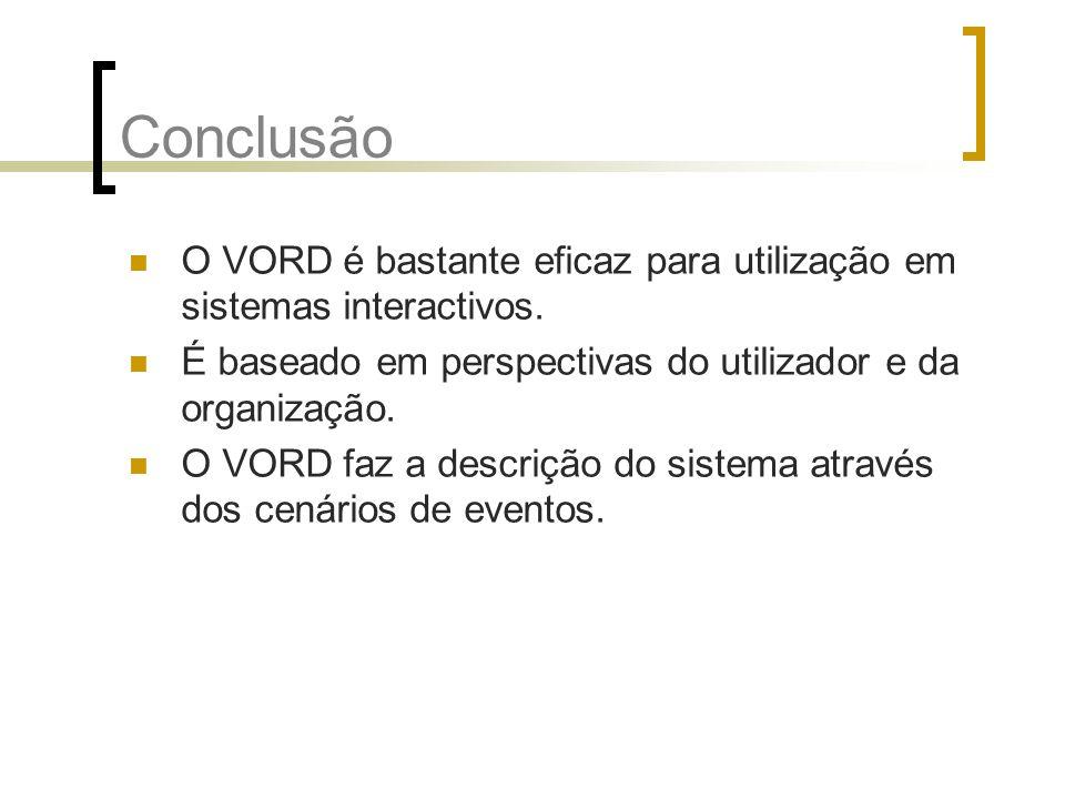 Conclusão O VORD é bastante eficaz para utilização em sistemas interactivos. É baseado em perspectivas do utilizador e da organização.