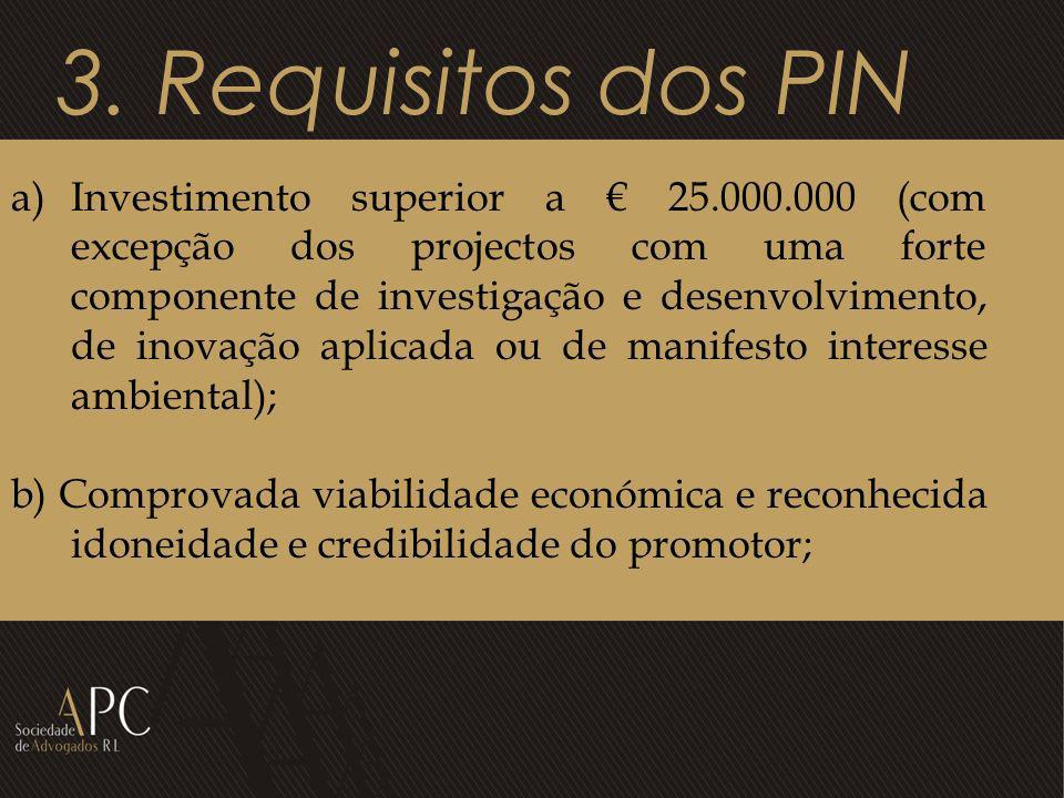 3. Requisitos dos PIN