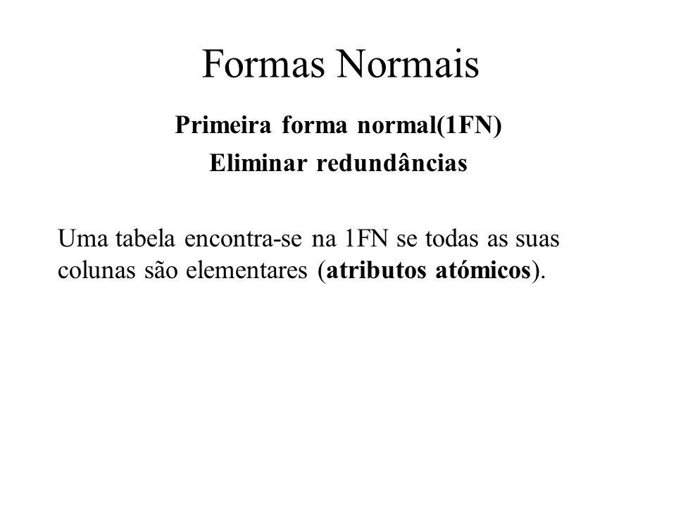 Primeira forma normal(1FN) Eliminar redundâncias