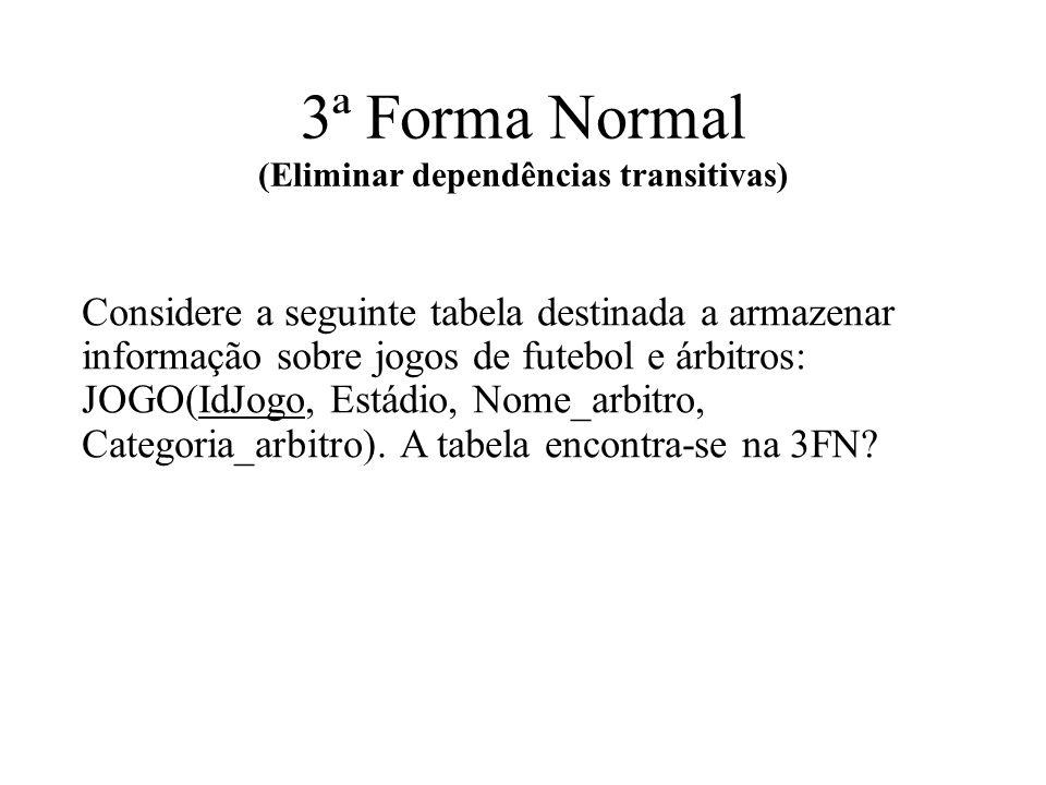 3ª Forma Normal (Eliminar dependências transitivas)