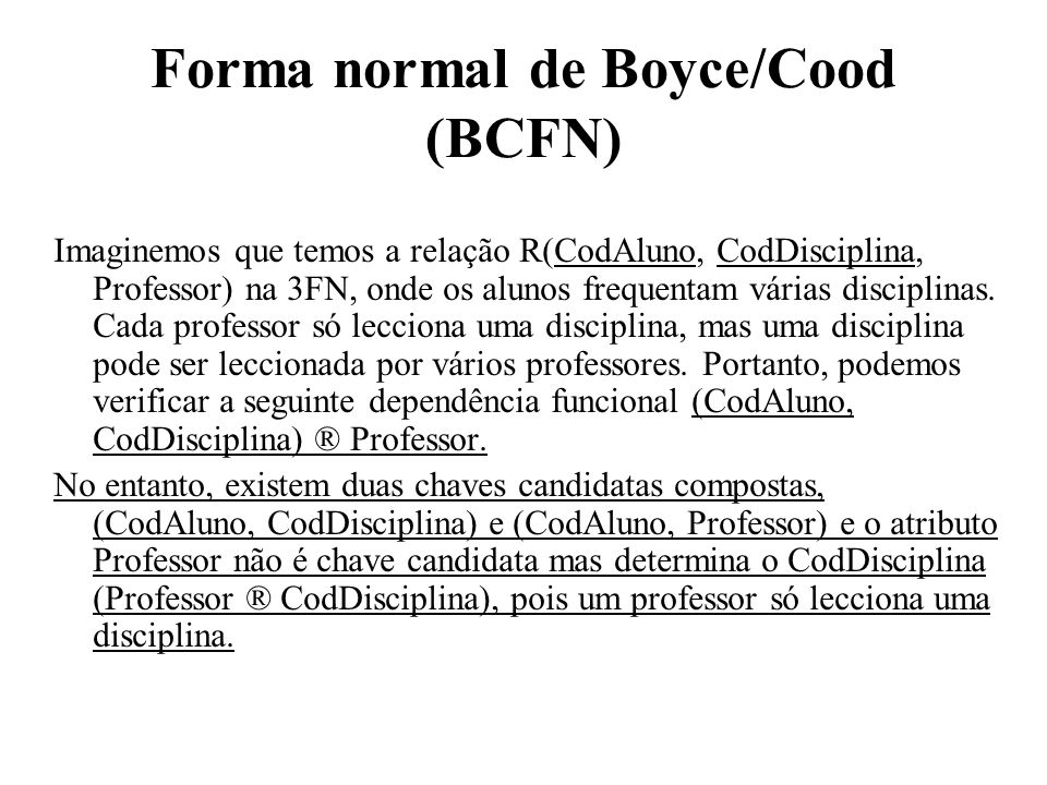 Forma normal de Boyce/Cood (BCFN)