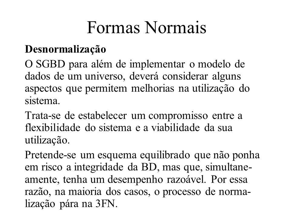 Formas Normais Desnormalização