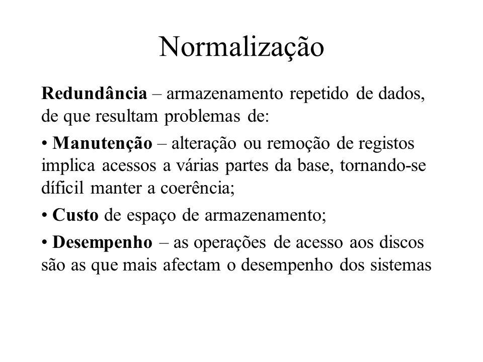 Normalização Redundância – armazenamento repetido de dados, de que resultam problemas de: