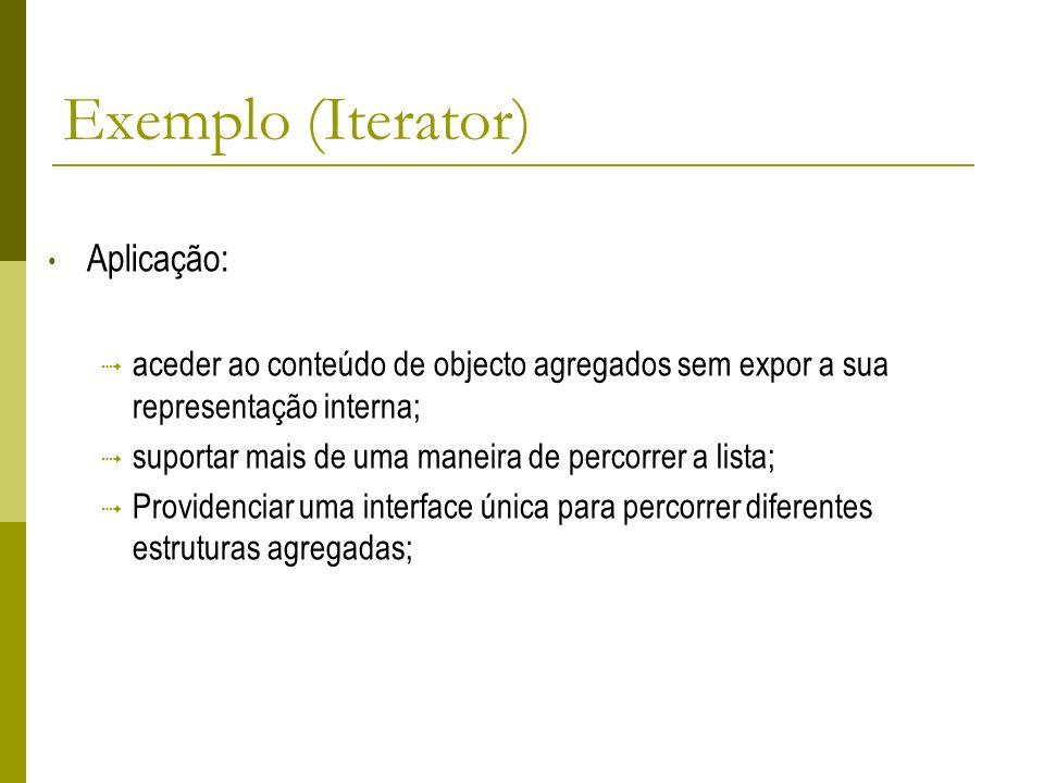 Exemplo (Iterator) Aplicação: