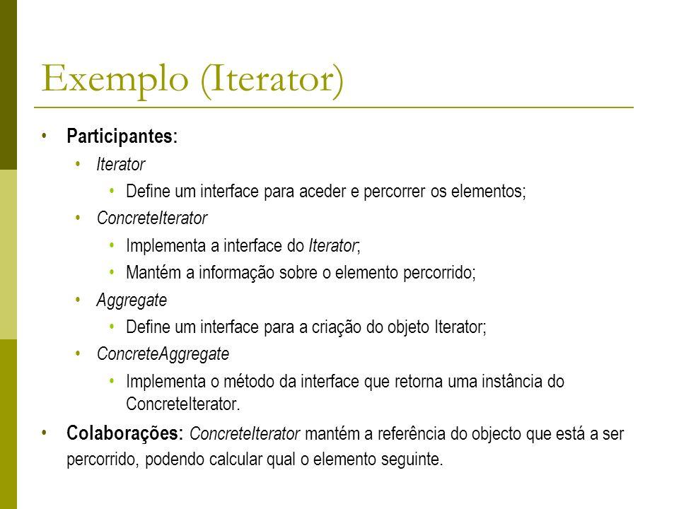 Exemplo (Iterator) Participantes: