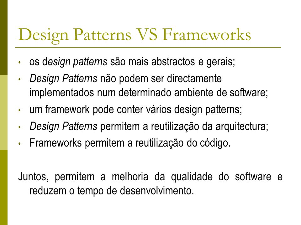 Design Patterns VS Frameworks