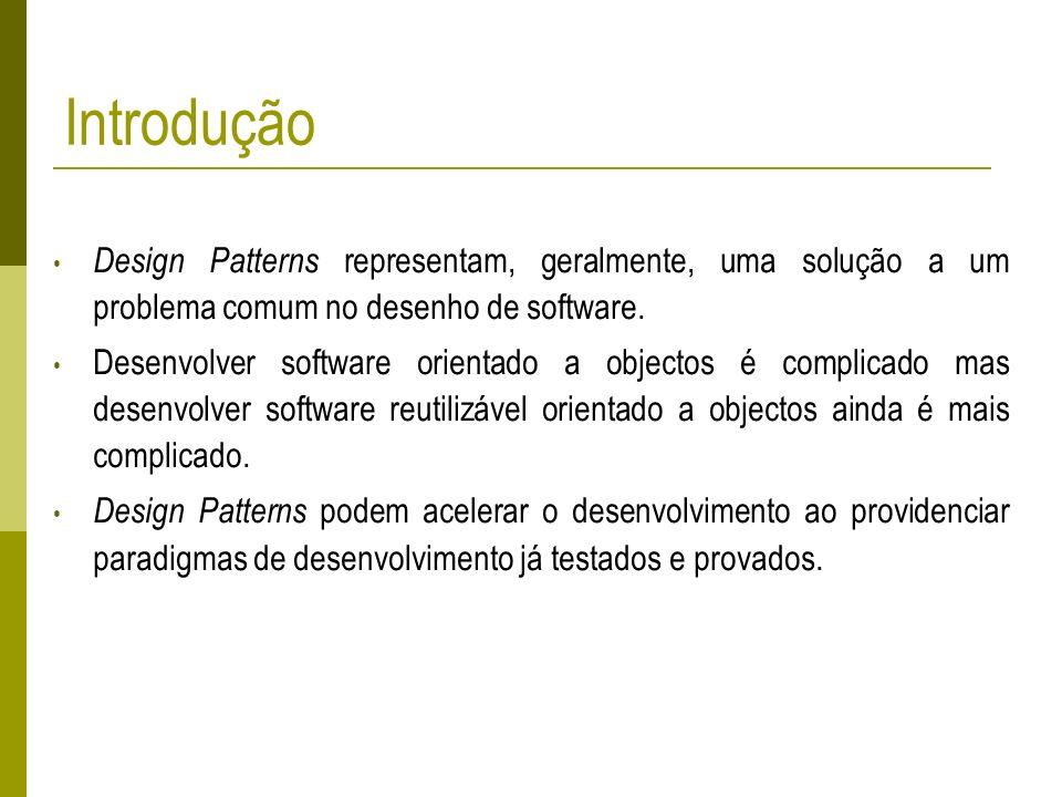 Introdução Design Patterns representam, geralmente, uma solução a um problema comum no desenho de software.