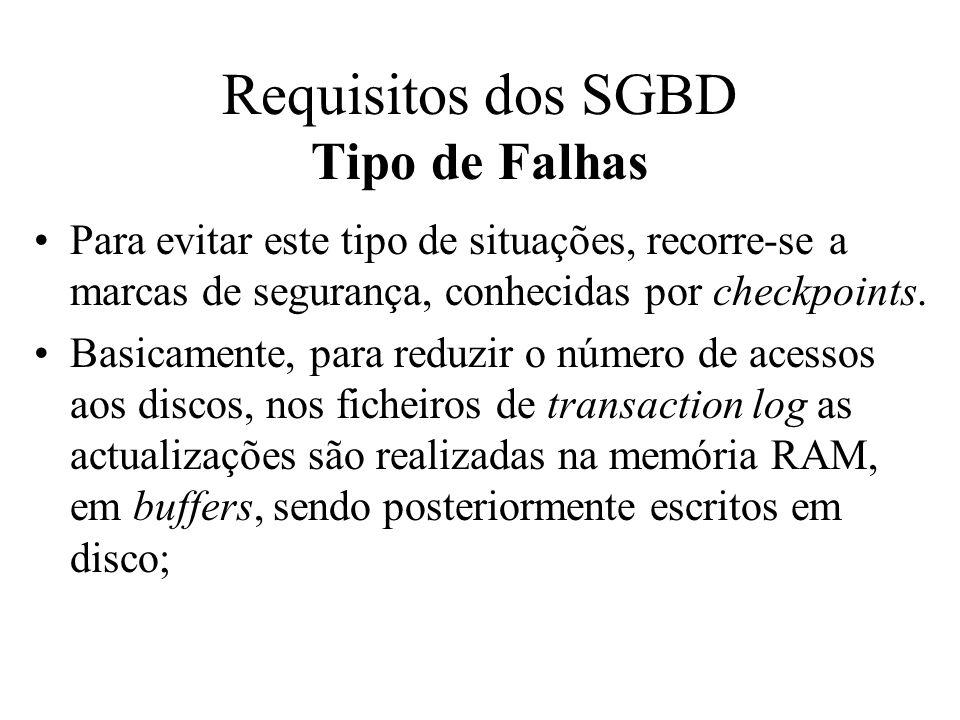 Requisitos dos SGBD Tipo de Falhas
