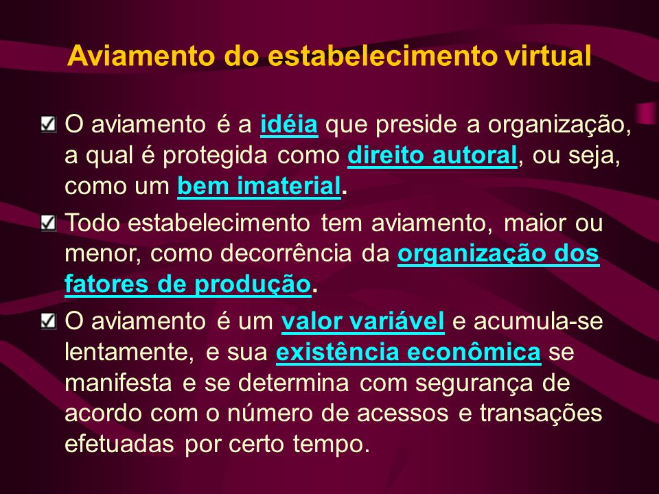 Aviamento do estabelecimento virtual