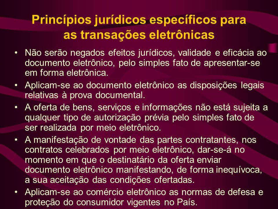 Princípios jurídicos específicos para as transações eletrônicas