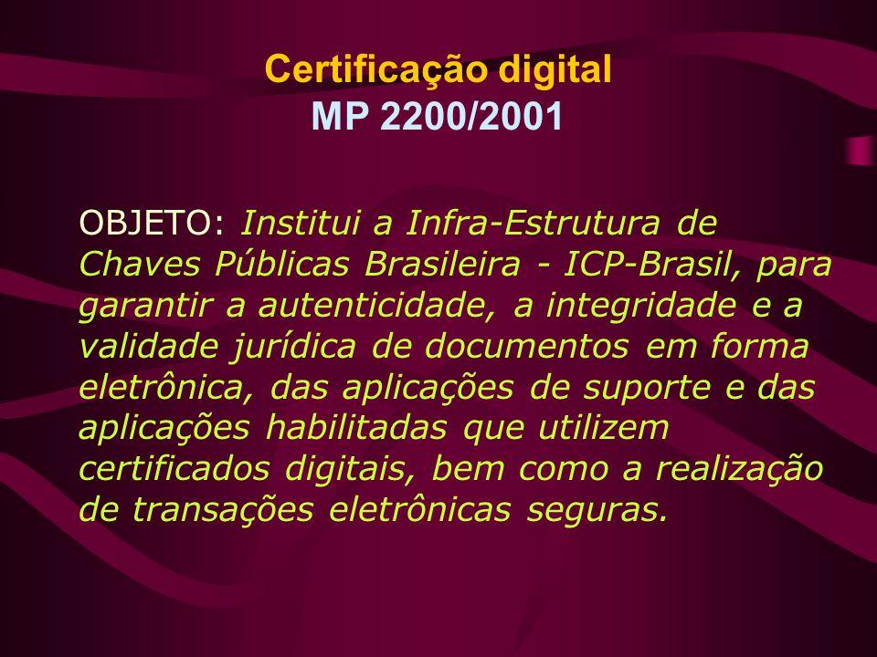 Certificação digital MP 2200/2001