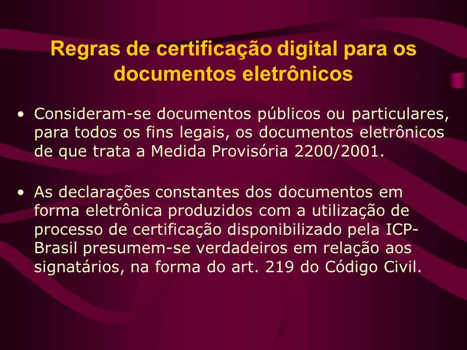 Regras de certificação digital para os documentos eletrônicos