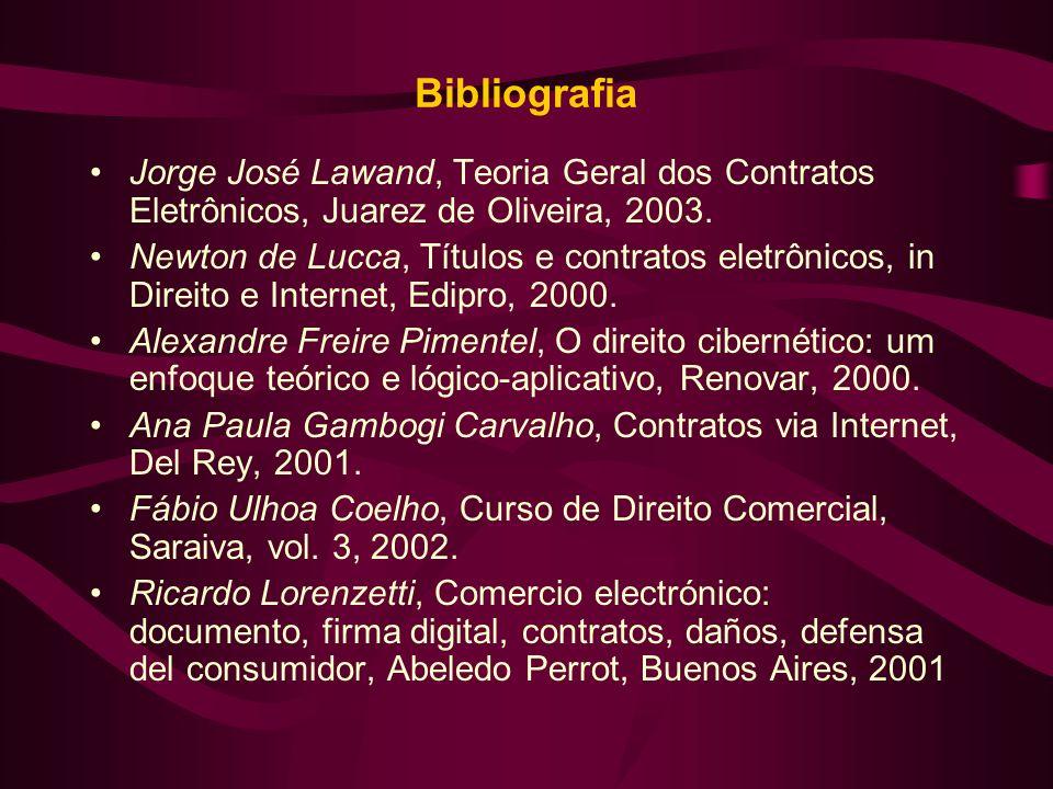 Bibliografia Jorge José Lawand, Teoria Geral dos Contratos Eletrônicos, Juarez de Oliveira, 2003.