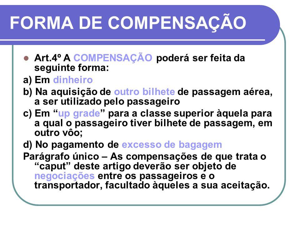 FORMA DE COMPENSAÇÃOArt.4º A COMPENSAÇÃO poderá ser feita da seguinte forma: a) Em dinheiro.