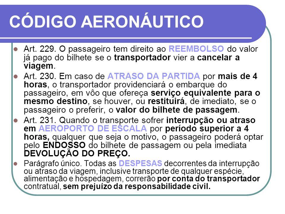 CÓDIGO AERONÁUTICO Art. 229. O passageiro tem direito ao REEMBOLSO do valor já pago do bilhete se o transportador vier a cancelar a viagem.