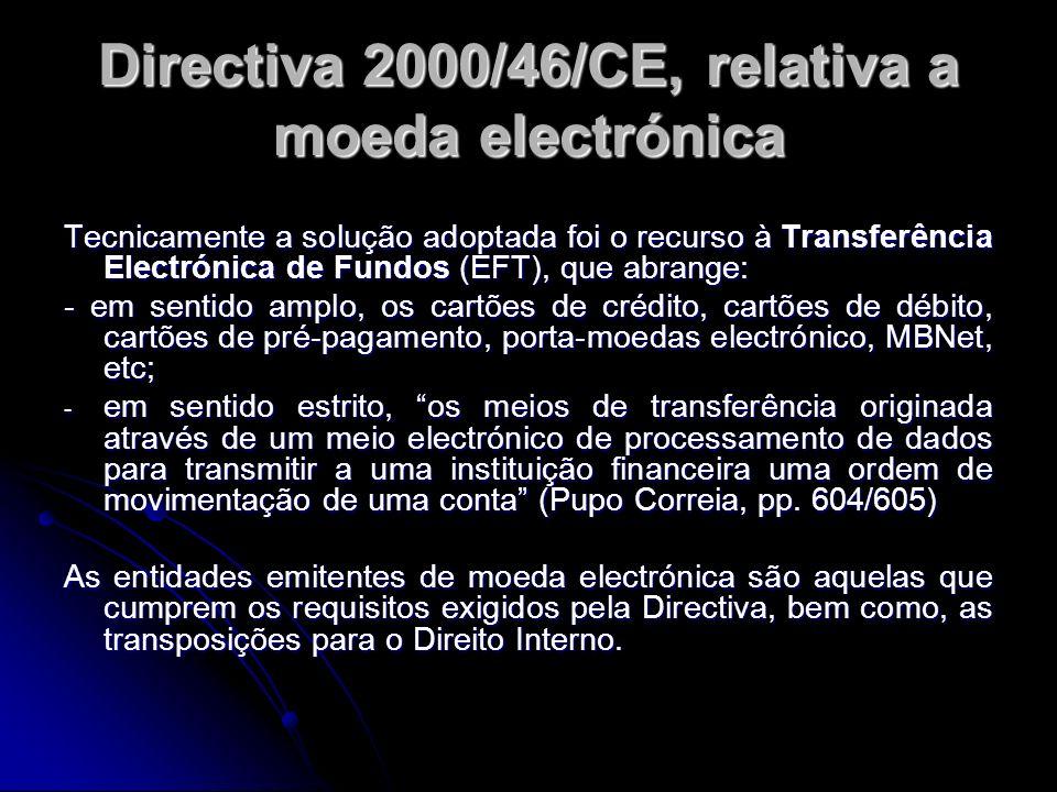 Directiva 2000/46/CE, relativa a moeda electrónica