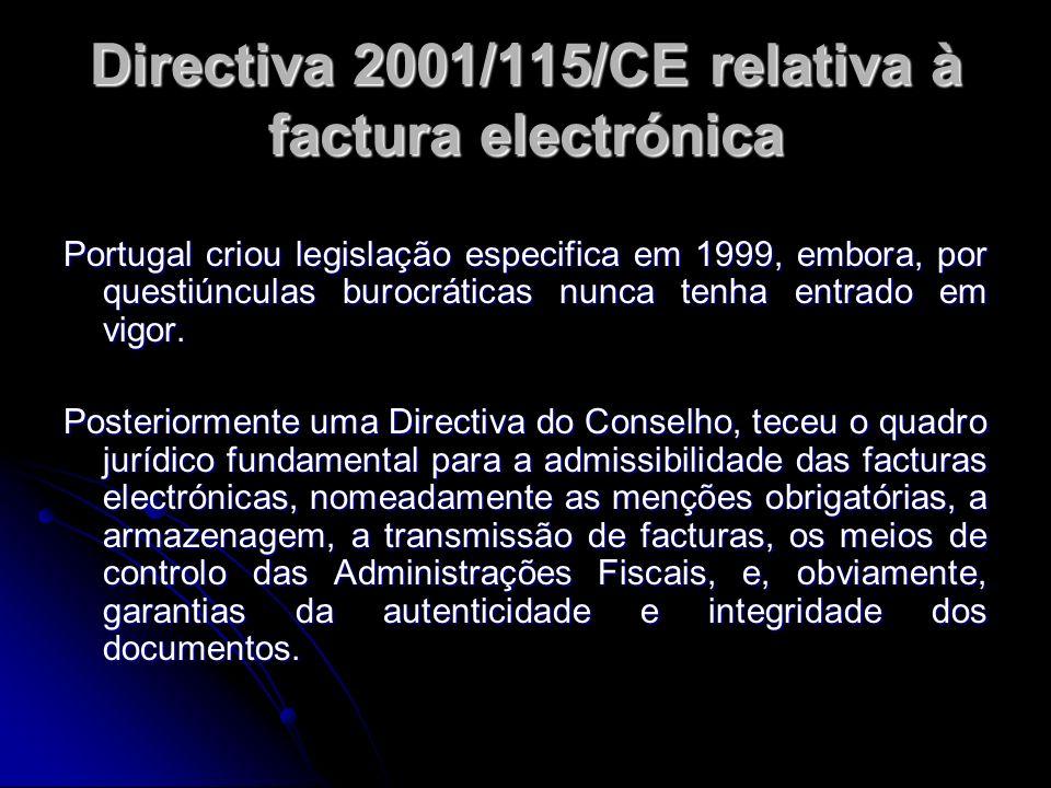 Directiva 2001/115/CE relativa à factura electrónica