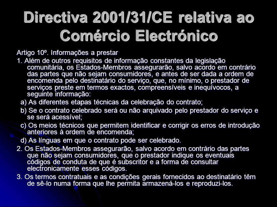 Directiva 2001/31/CE relativa ao Comércio Electrónico