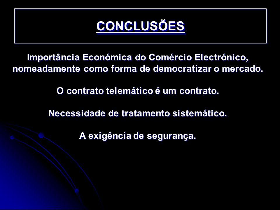 CONCLUSÕES Importância Económica do Comércio Electrónico, nomeadamente como forma de democratizar o mercado.