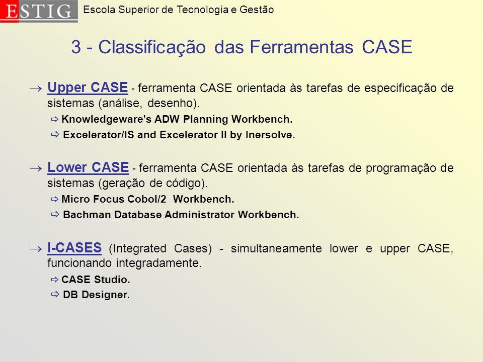 3 - Classificação das Ferramentas CASE