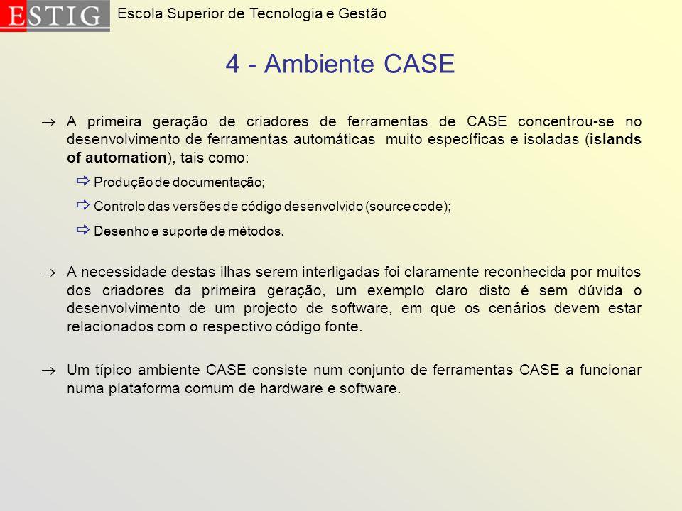 4 - Ambiente CASE  Produção de documentação;