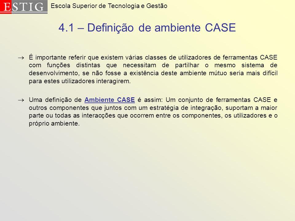 4.1 – Definição de ambiente CASE