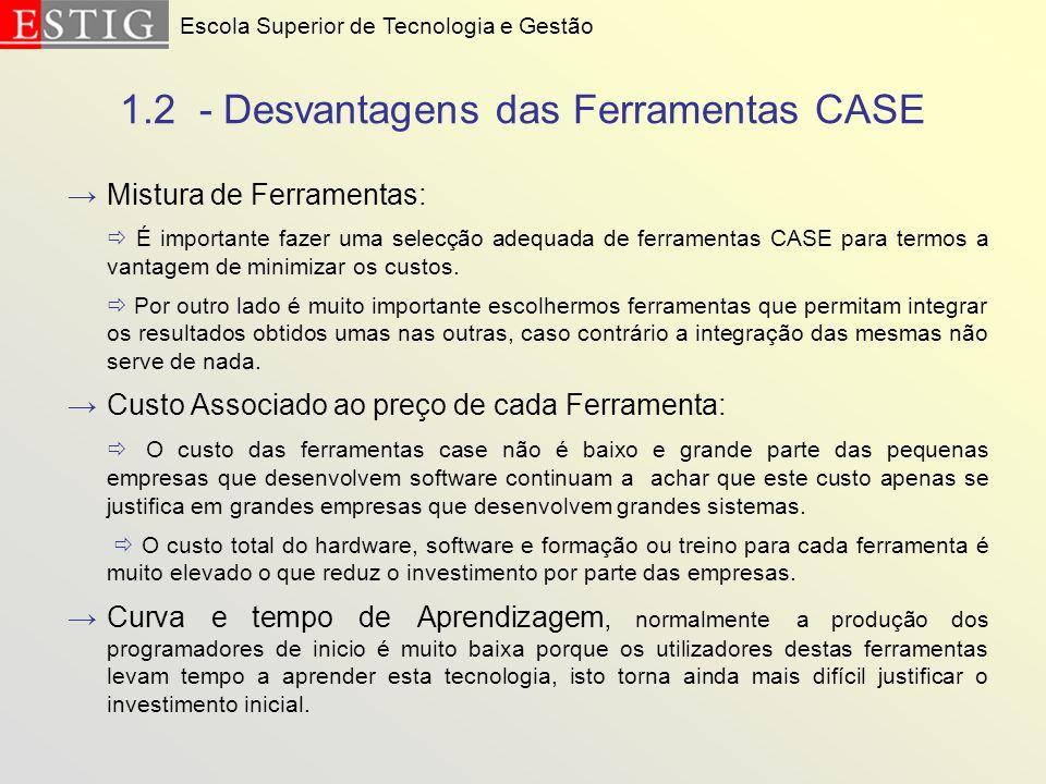 1.2 - Desvantagens das Ferramentas CASE