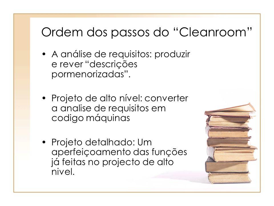 Ordem dos passos do Cleanroom
