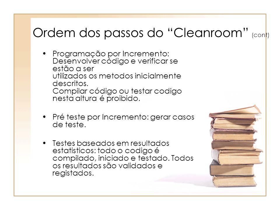 Ordem dos passos do Cleanroom (cont)