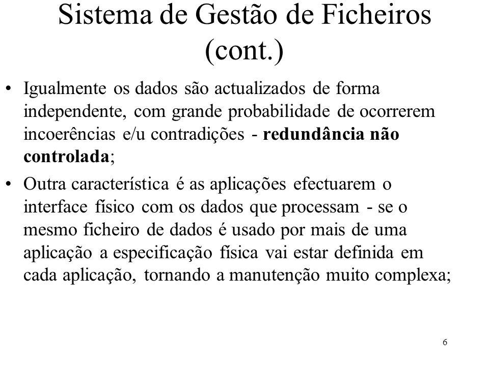 Sistema de Gestão de Ficheiros (cont.)