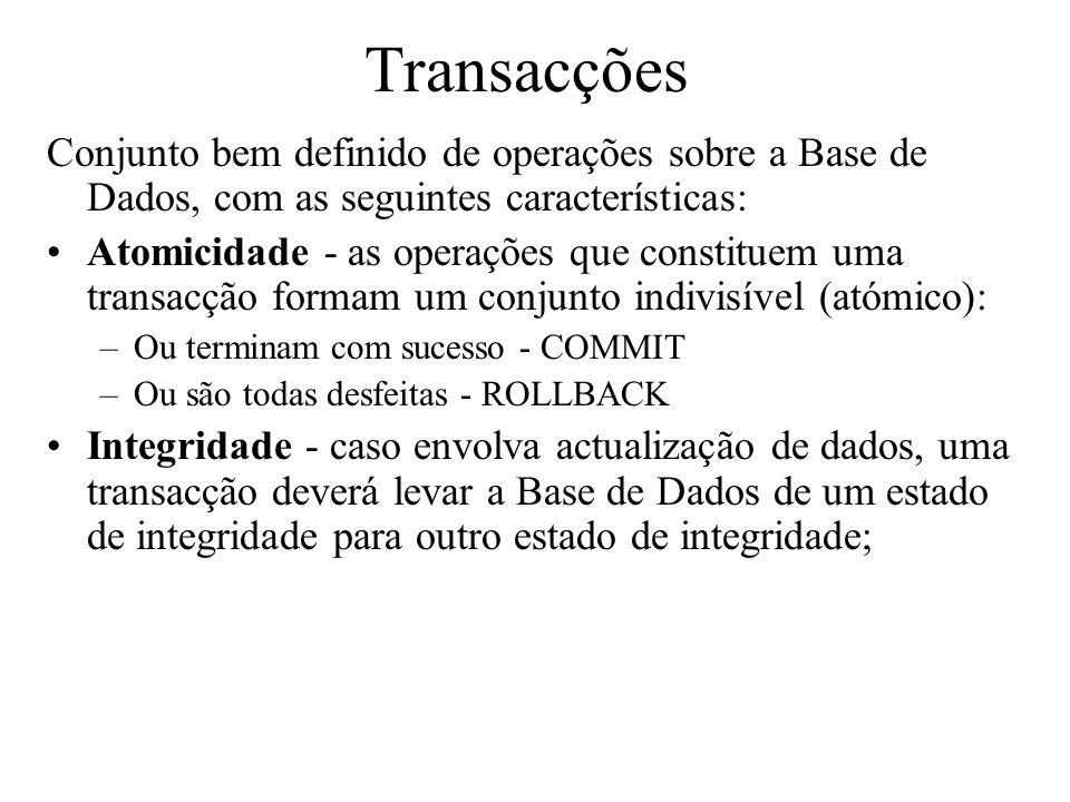 Transacções Conjunto bem definido de operações sobre a Base de Dados, com as seguintes características: