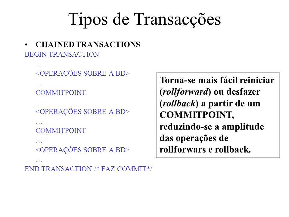 Tipos de TransacçõesCHAINED TRANSACTIONS. BEGIN TRANSACTION. … <OPERAÇÕES SOBRE A BD> COMMITPOINT. END TRANSACTION /* FAZ COMMIT*/